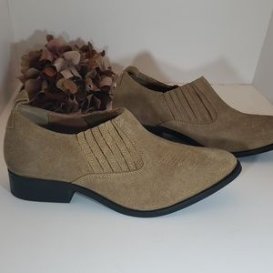 Brushed/Nubuck Leather Tan Cowgirl Ankle Boots 8
